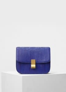 Celine Inky Blue Watersnake Medium Classic Box Bag