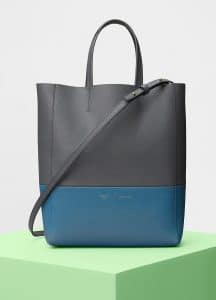 Celine Kohl/Washed Blue Bi-Grained Calfskin Small Vertical Cabas Bag