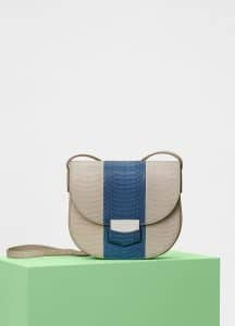 Celine Linen/Washed Blue Watersnake Small Trotteur Shoulder Bag