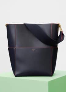 Celine Navy Blue Shiny Smooth Calfskin Sangle Shoulder Bag