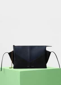 Celine Navy/Black Calfskin Tri-Fold Chevron Clutch on Chain Bag