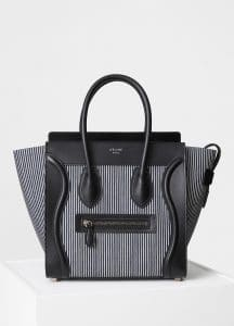 Celine Navy/White Striped Textile Micro Luggage Bag