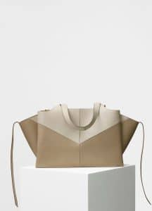 Celine Pale Beige/Beige Chevron Medium Tri-Fold Shoulder Bag