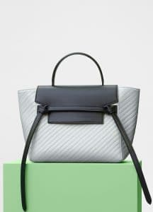 Celine Pale Grey/Black Quilted Calfskin Micro Belt Bag