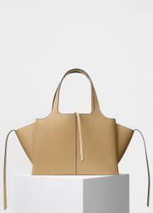 Celine Sand Supple Natural Calfskin Medium Tri-Fold Shoulder Bag