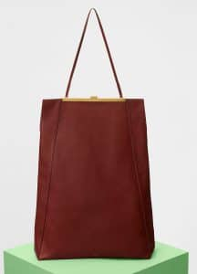 Celine Teck Smooth Calfskin Cabas Clasp Bag