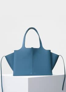 Celine Washed Blue Baby Grained Calfskin Small Tri-Fold Shoulder Bag
