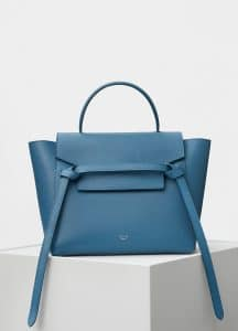 Celine Washed Blue Cactus Grained Calfskin Micro Belt Bag