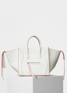 Celine White Baby Grained Calfskin Medium Luggage Phantom Bag
