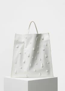 Celine White Soft Lambskin with Drops Medium Tote Bag