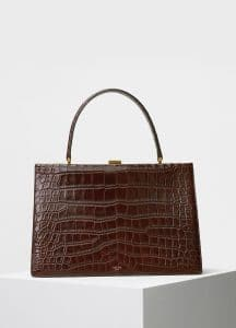 Celine Wood Crocodile Medium Clasp Bag