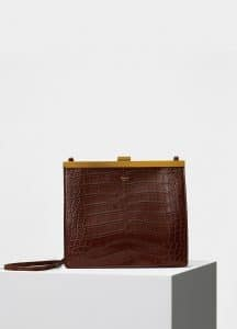 Celine Wood Crocodile Mini Clasp Shoulder Bag