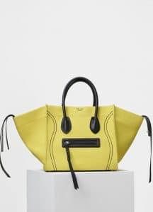 Celine Yellow Washed Canvas Medium Luggage Phantom Bag