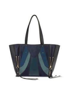 Chloe Blue Milo Medium Patchwork Tote Bag