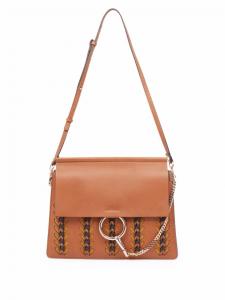Chloe Brown Braided Faye Medium Satchel Bag