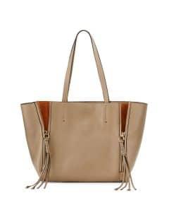 Chloe Gray Milo Medium Leather & Suede Tote Bag