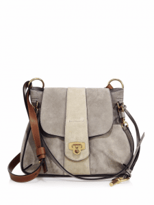 Chloe Gray Suede Lexa Small Shoulder Bag
