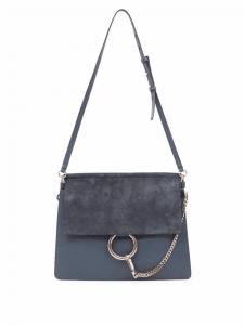 Chloe Silver Blue Suede:Leather Faye Medium Satchel Bag