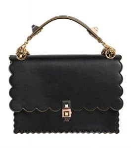 Fendi Black Scalloped Kan I Medium Bag