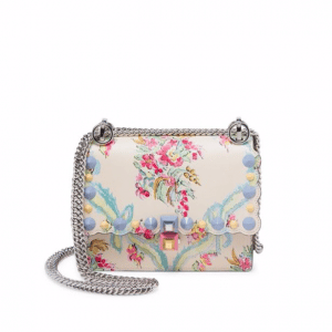 Fendi Ivory/Multicolor Floral-Print Kan I Small Bag
