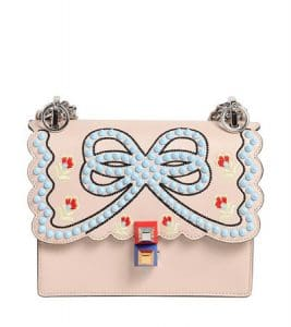 Fendi Light Pink Studded Bow Kan I Small Bag