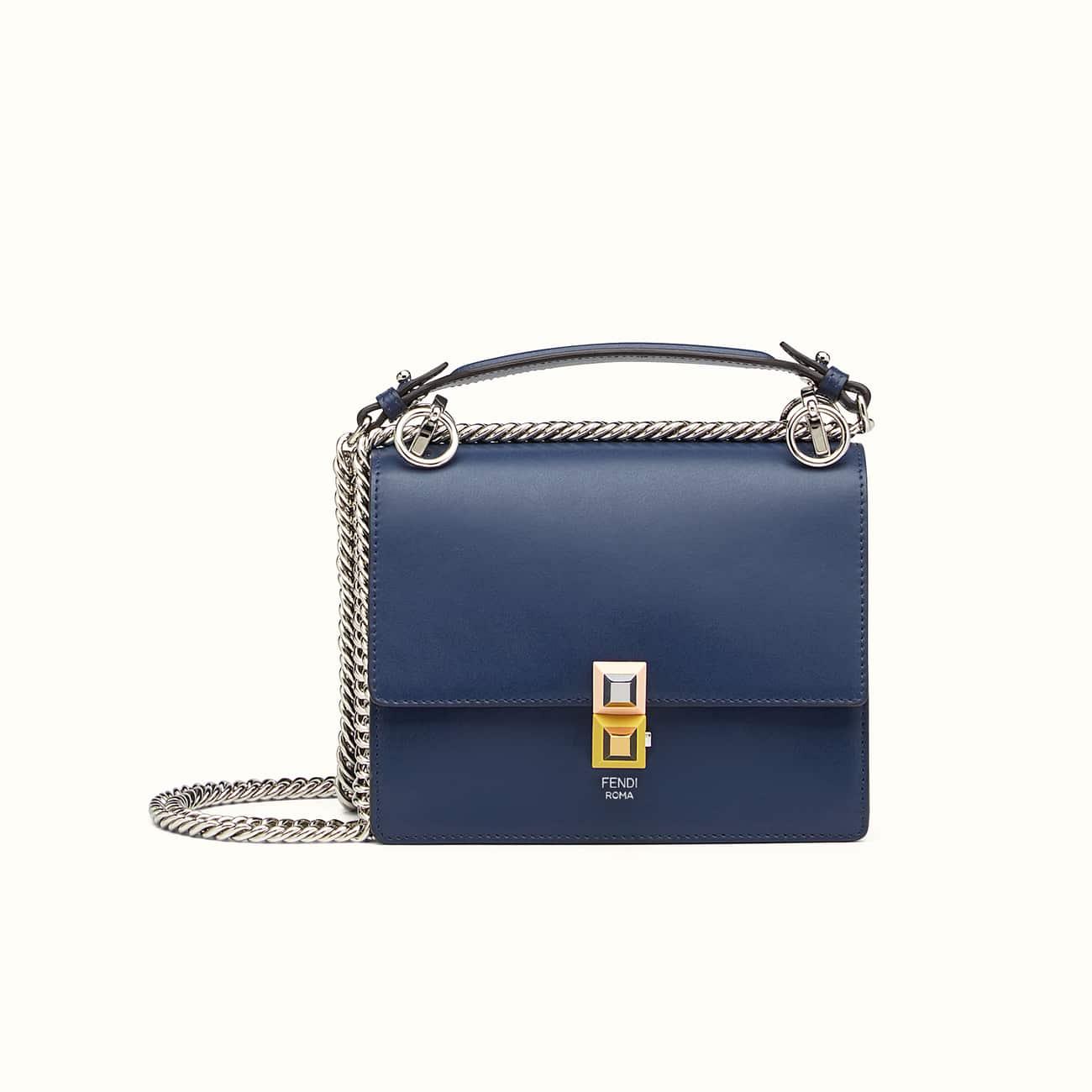 Blue Kan I Small Leather shoulder bag Fendi TtRawKbrcG