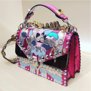 Fendi Pink Metallic Embellished Kan I Bag
