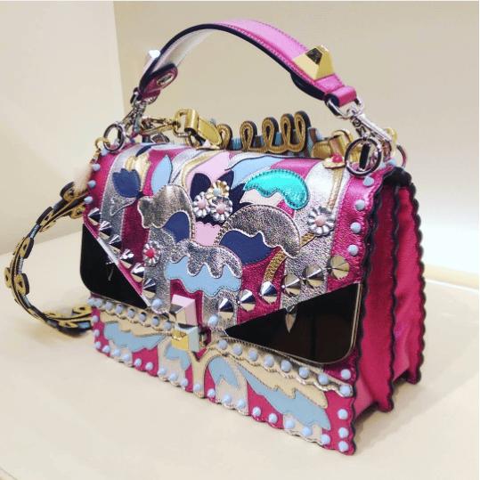 ef92a37681 Fendi Pink Metallic Embellished Kan I Bag. IG  lofficielsingapore