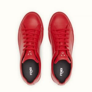Fendi Red Leather Fendi Faces Sneakers