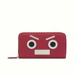 Fendi Red No Words Fendi Faces Zip Around Wallet