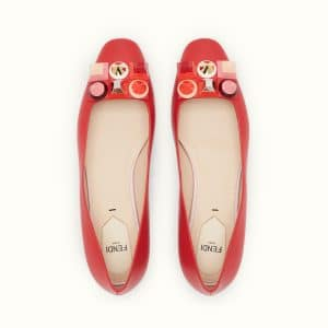 Fendi Red Studded Ballet Flats