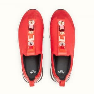 Fendi Red Studded Fabric Sneakers