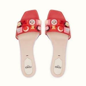 Fendi Red Studded Mule Sandals