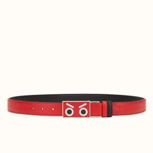 Fendi Red/Black No Words Fendi Faces Reversible Leather Belt