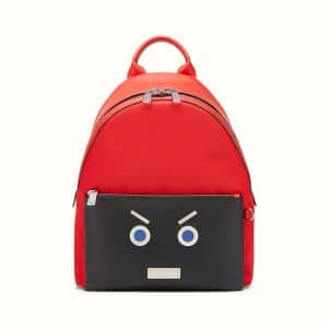 Fendi Red/Black Nylon and Leather No Words Fendi Faces Backpack Bag