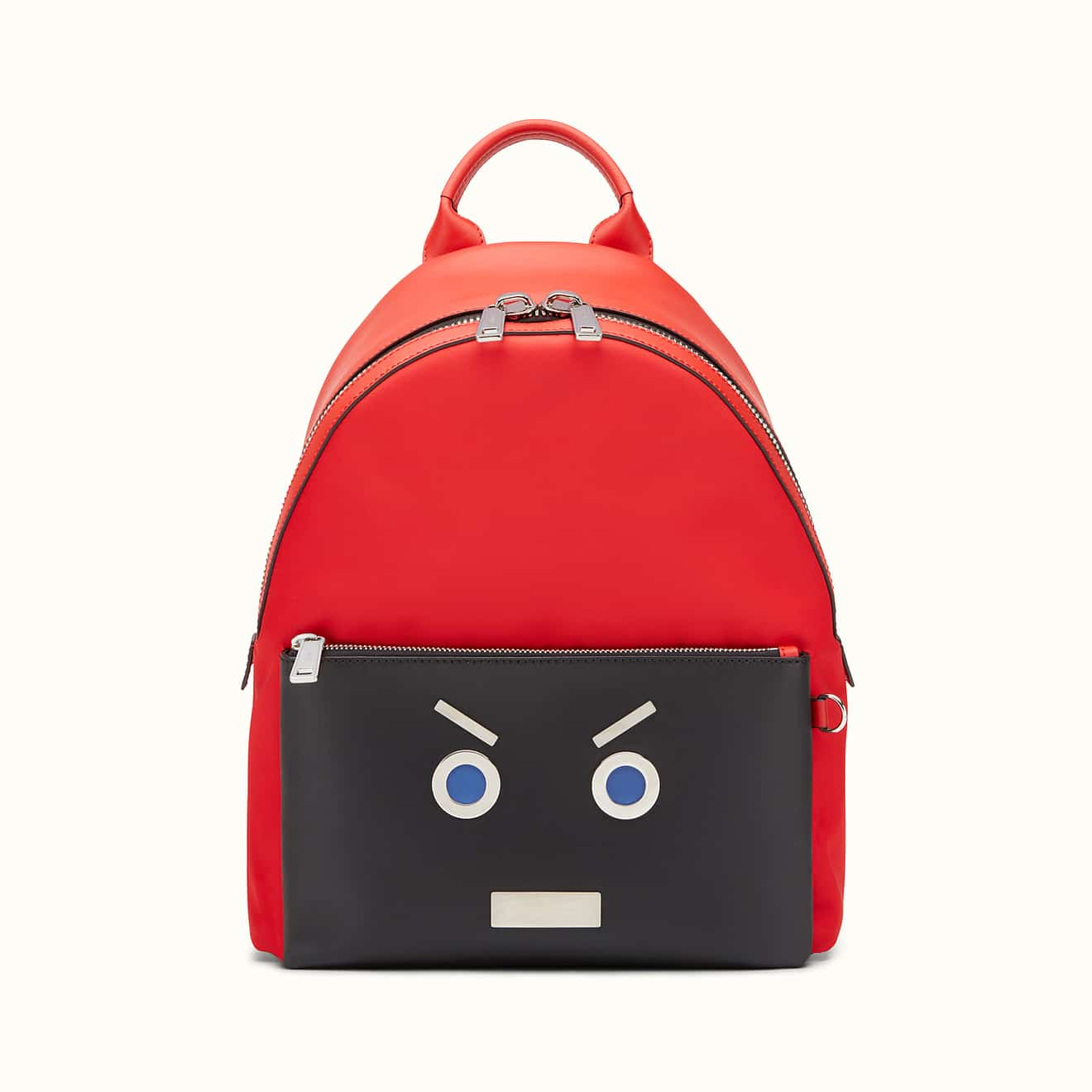 be97462693a Fendi Red/Black Nylon and Leather No Words Fendi Faces Backpack Bag