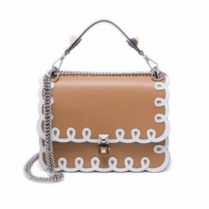 Fendi Tan Scalloped with Scrollwork Kan I Medium Bag