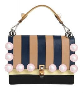 Fendi Tan/Blue/Black Striped Kan I Medium Bag