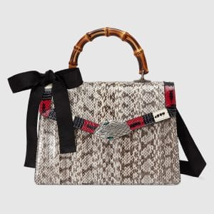 Gucci Beige Snakeskin Medium Lilith Top Handle Bag