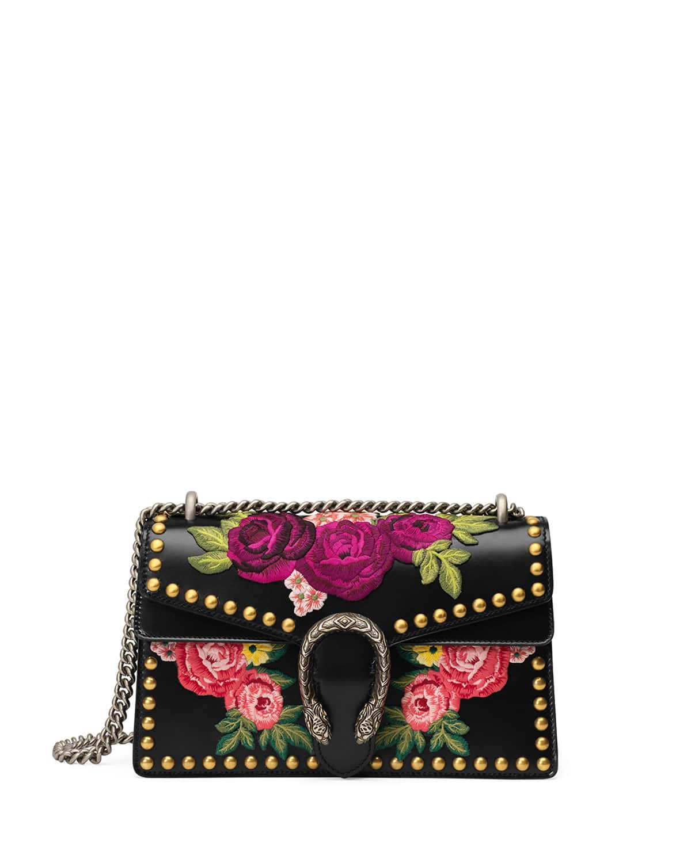 Gucci Black Multicolor Fl Embroidered Small Dionysus Bag