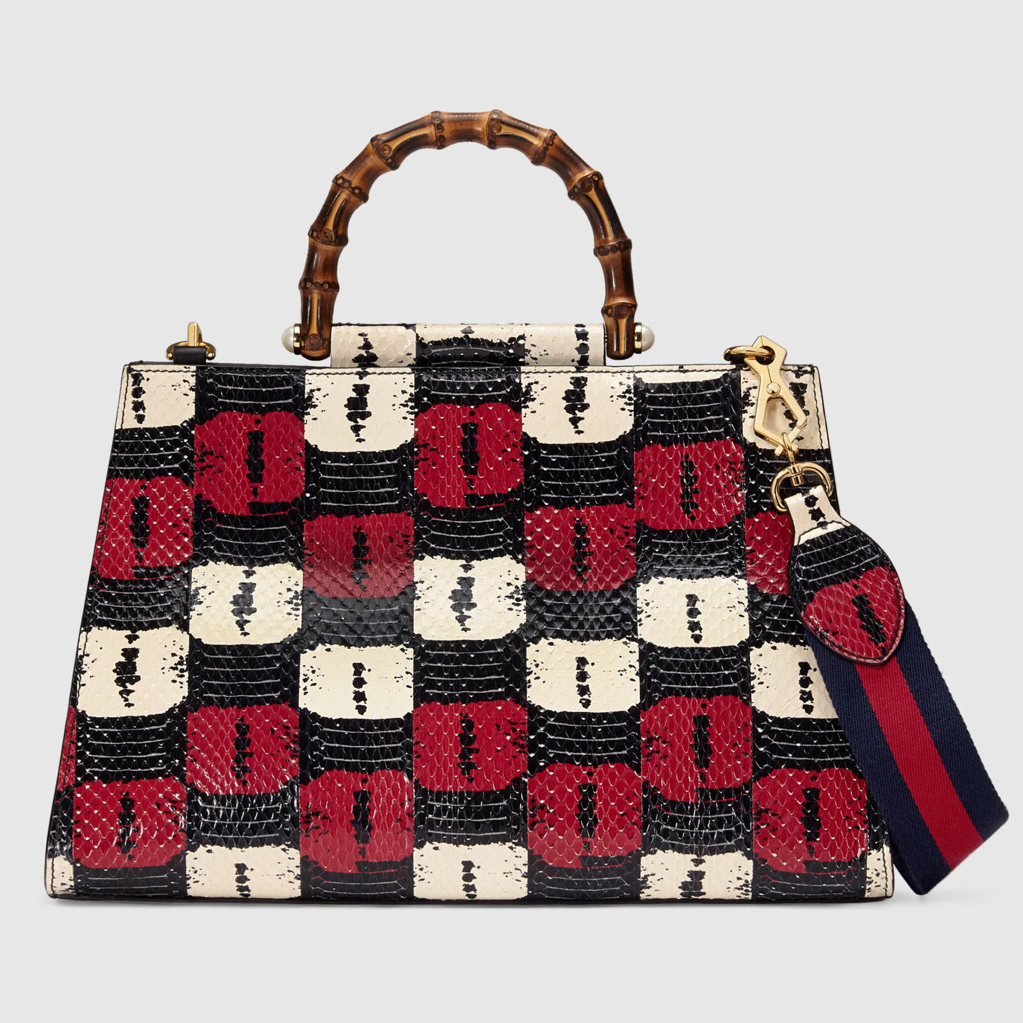 734240e38a0 Gucci Blue Red Printed Snakeskin Medium Nymphaea Top Handle Bag
