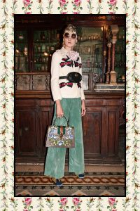Gucci Brown Floral Embroidered Sylvie Top Handle Bag - Pre-Fall 2017