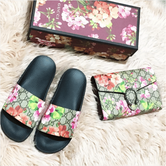 Gucci Gg Blooms Supreme Slide Sandal 2 Ig Msc Xo