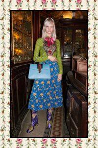 Gucci Light Blue Ostrich Sylvie Top Handle Bag - Pre-Fall 2017