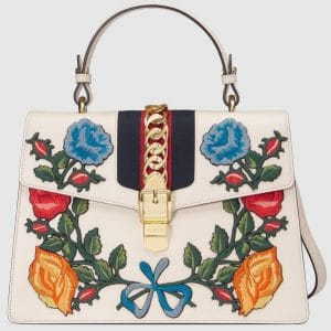 Gucci Sylvie Floral Embroidered Leather Top-Handle Satchel Bag 1