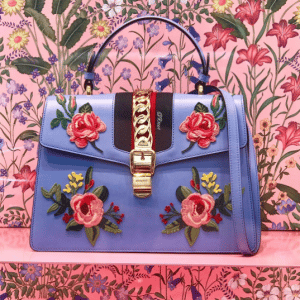 Gucci Sylvie Floral Embroidered Leather Top-Handle Satchel Bag 2