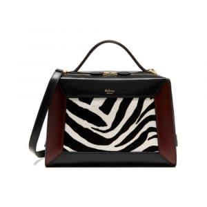 Mulberry Black/White/Oxblood Zebra Haircalf & Smooth Calf Hopton Bag