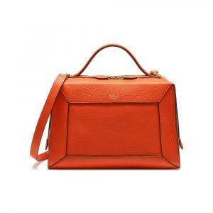 Mulberry Bright Orange Small Classic Grain Hopton Bag