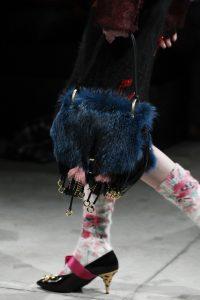 Prada Blue/Black Fur Corsaire Saddle Bag - Fall 2017