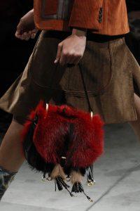 Prada Red/Black Fur Corsaire Saddle Bag - Fall 2017